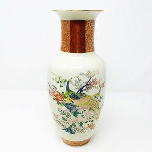 Antique Satsuma Vintage Japan Peacock Floral Vase
